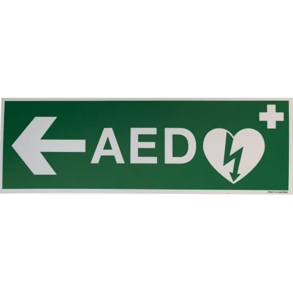 AED sticker met pijl links 30x10 - Janhofman.nl - 1