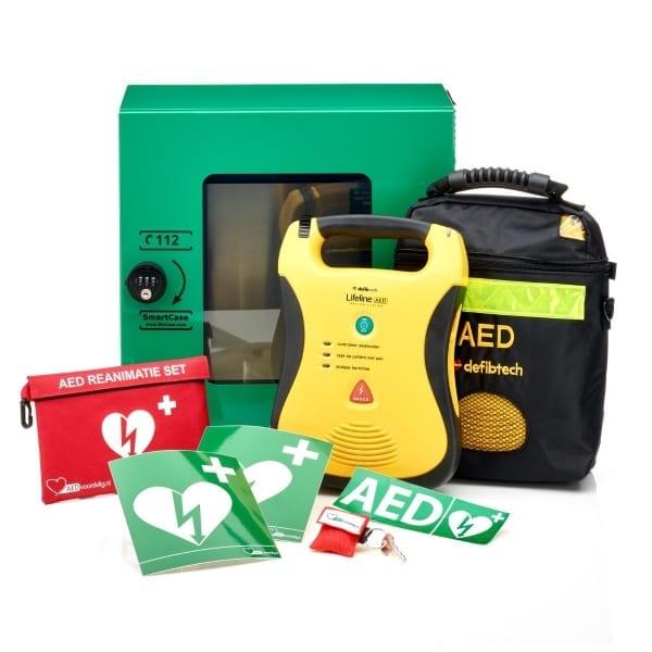 Defibtech Lifeline AED + buitenkast-Groen met pin-Halfautomaat - Janhofman.nl - 1
