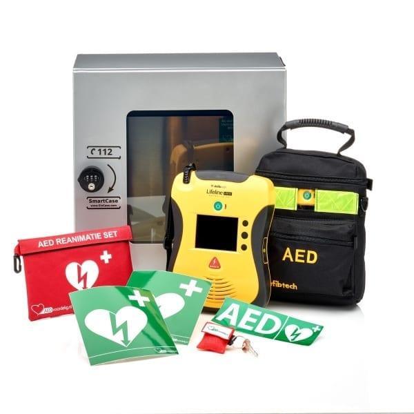 Defibtech Lifeline VIEW AED + buitenkast-Grijs met pin-Volautomaat-Nederlands-Frans - Janhofman.nl - 1