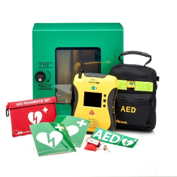Defibtech Lifeline VIEW AED + buitenkast-Groen met pin-Halfautomaat-Nederlands-Frans - Janhofman.nl - 1